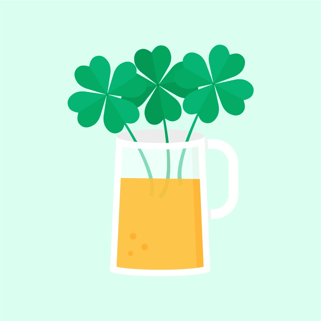 Vector illustration of a Shamrock/clover beer or shamrocks/clovers in a pint for St Patrick's Day in flat design style