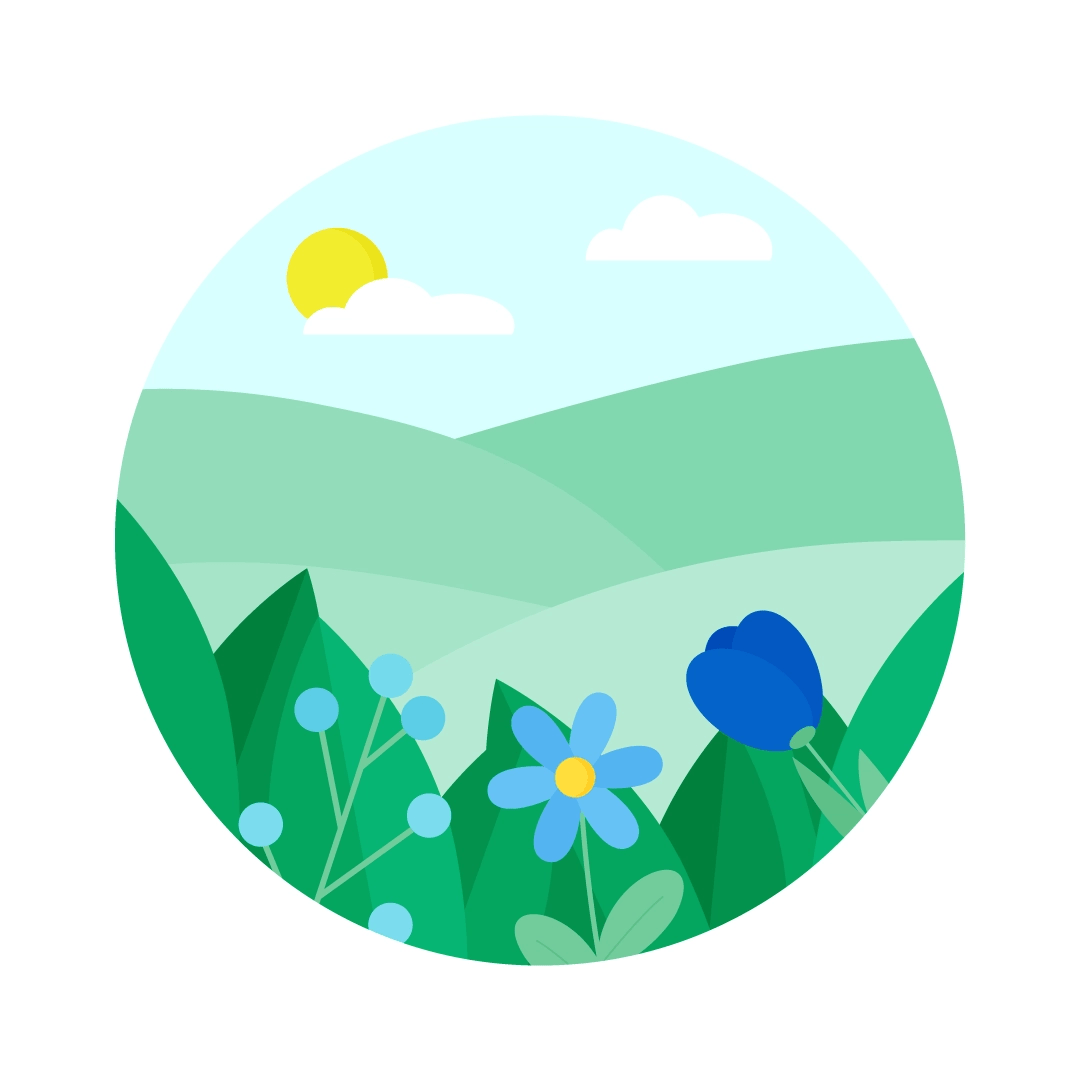 Vector illustration of a Fields with flowers for First Day of Spring in flat design style