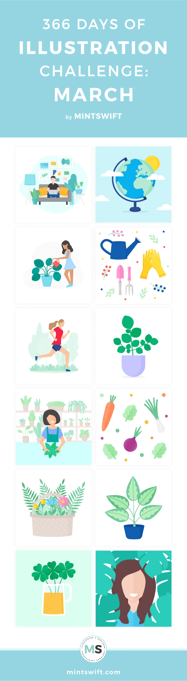 Top 12 vector illustrations inspired by spring, flowers, plants, vegetables from the third month of my one year of illustration challenge in flat design style