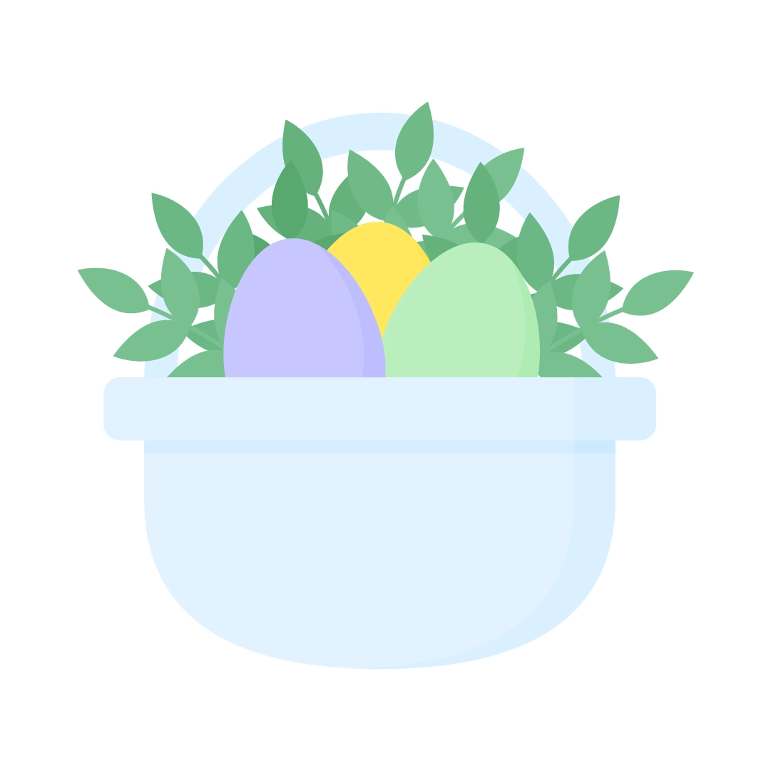 Vector illustration of a pale blue basket with Easter eggs & boxwood branches in flat design style