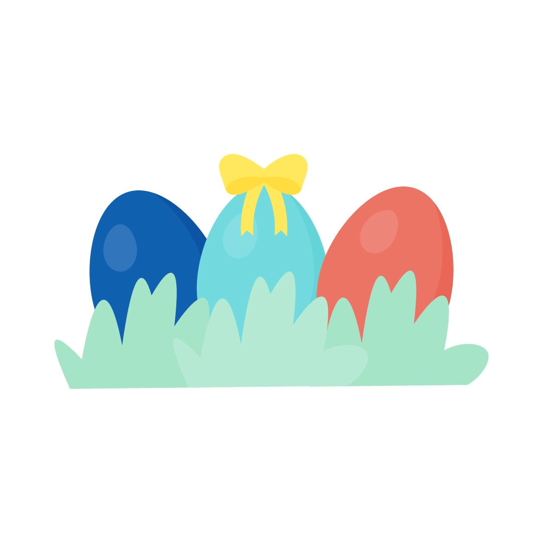 Vector illustration of Easter eggs hidden behind grass with a yellow ribbon in the middle in flat design style