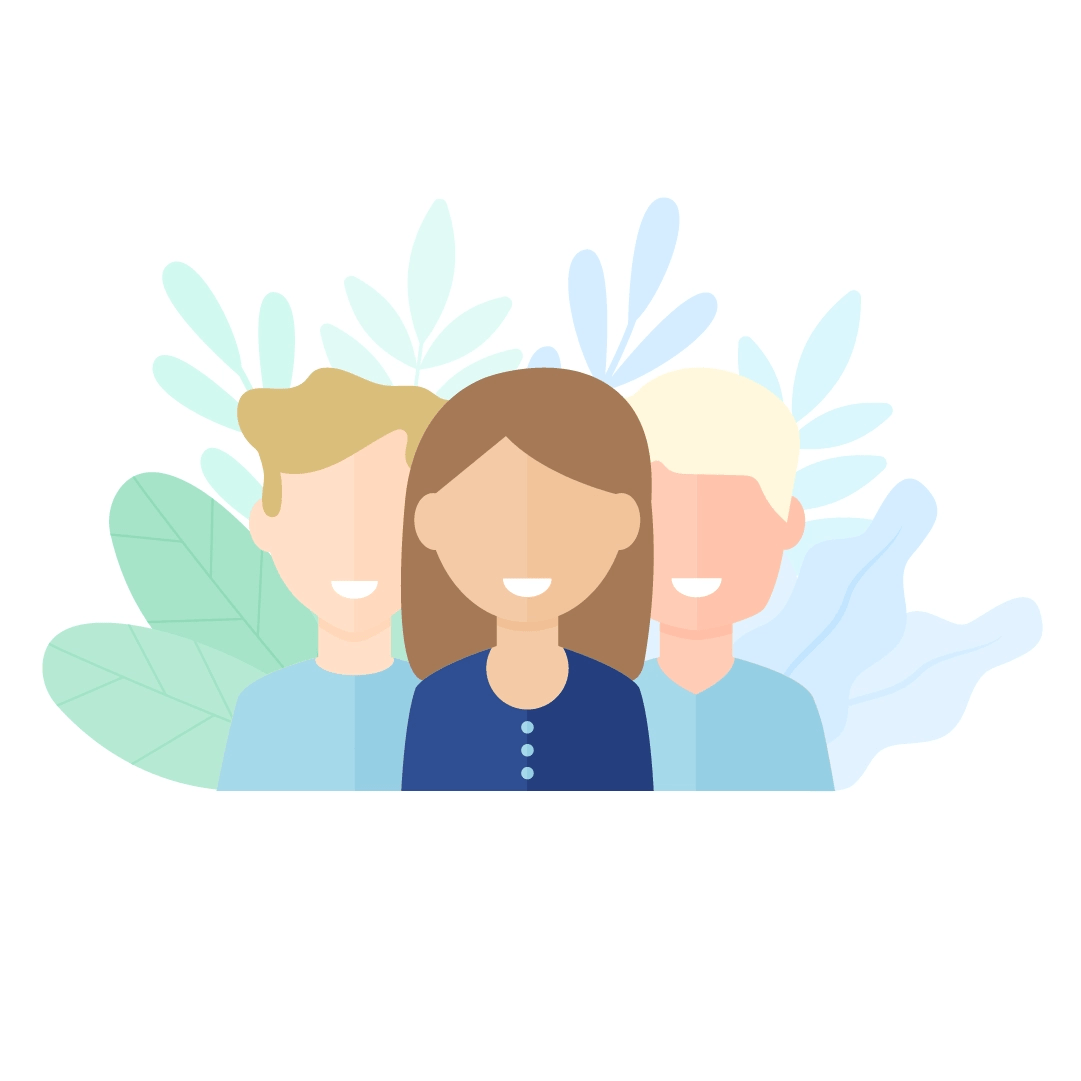 Vector illustration of a team with two men and a woman with foliage in the background in flat design style