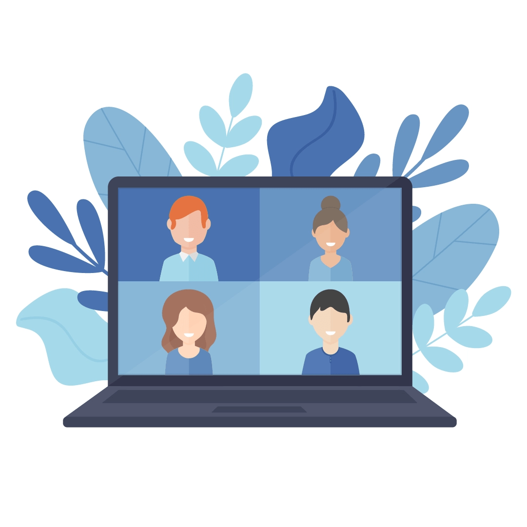 Vector illustration of a laptop with two men and two women talking on video chat with leaves in the back in flat design style