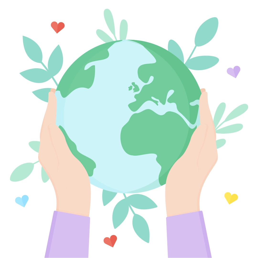 Vector illustration of hands holding the Earth for Earth Day in flat design style