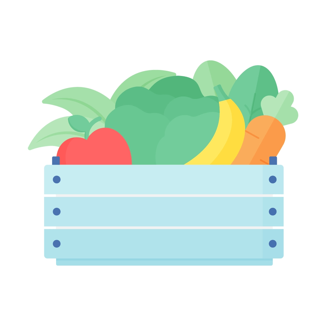 Vector illustration of the crate with fruits & vegetables: apple, lettuce, banana, carrot & some greens in flat design style