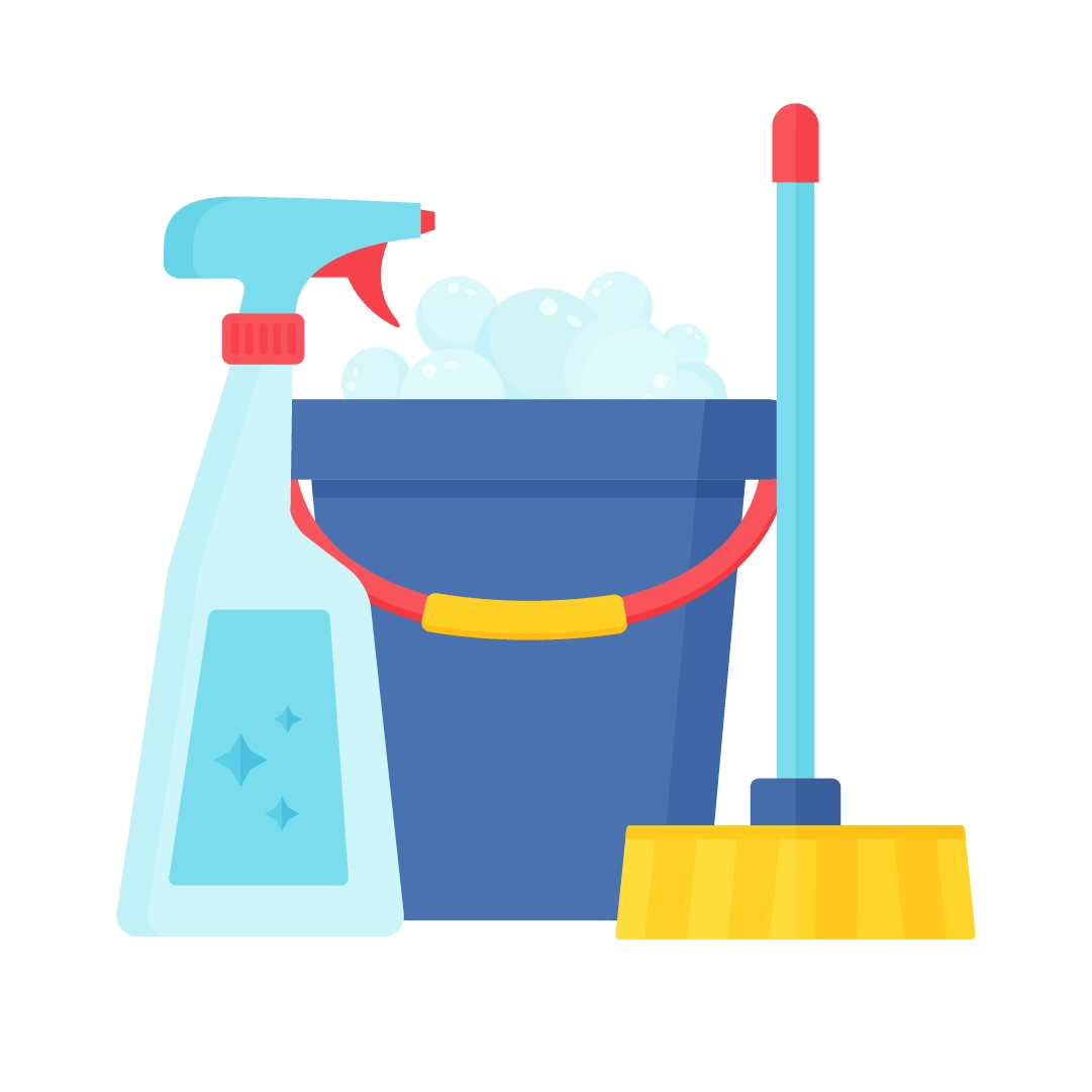 Vector illustration of a window cleaner spray, bucket with bubbles & broom in flat design style