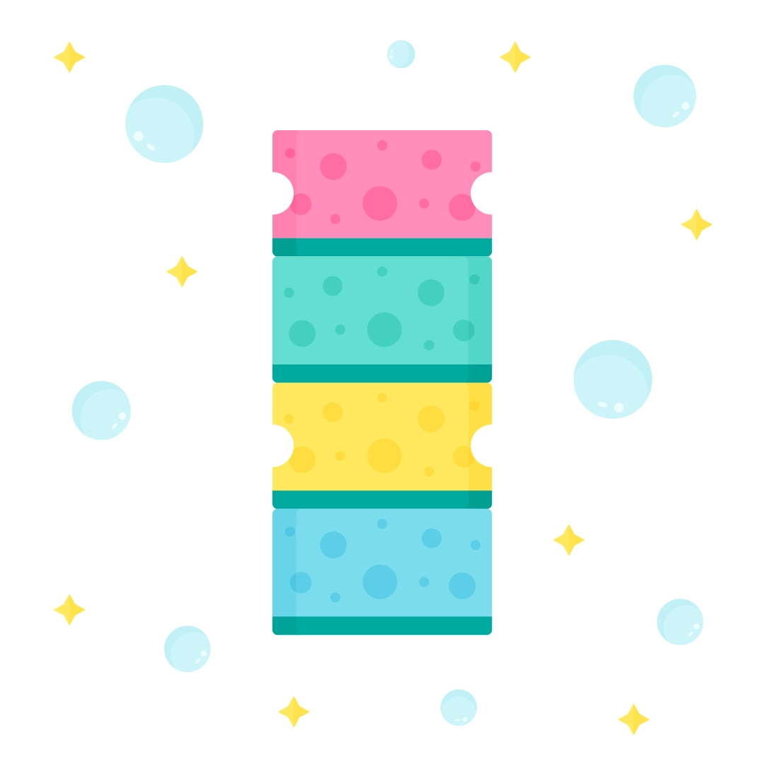 Vector illustration of a stack of sponge scourers in flat design style