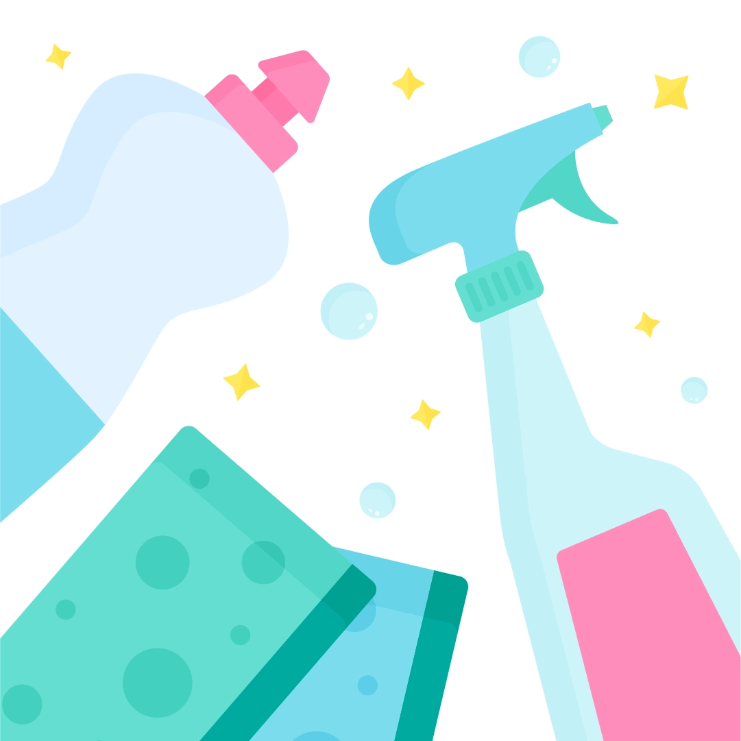 Vector illustration of a top view flat lay with dishwashing liquid, window cleaner spray & sponge scourers in flat design style