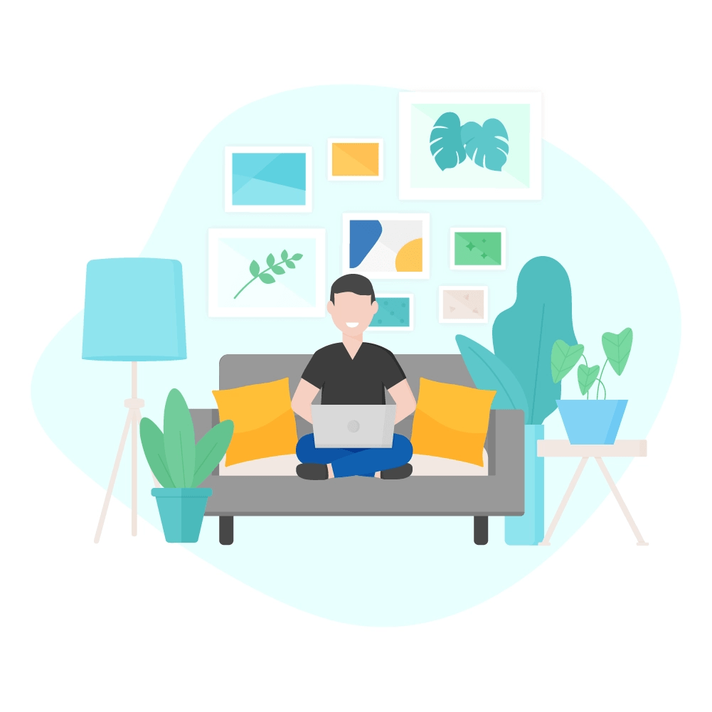 Flat illustration of a man sitting with his legs crossed on a sofa, working on a laptop in a living room with a wall gallery, plants, floor lamp & side table