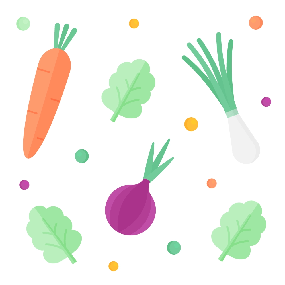 Flat illustration of a vegetable pattern or set design including carrot, red onion, spring onion, lettuce & peas
