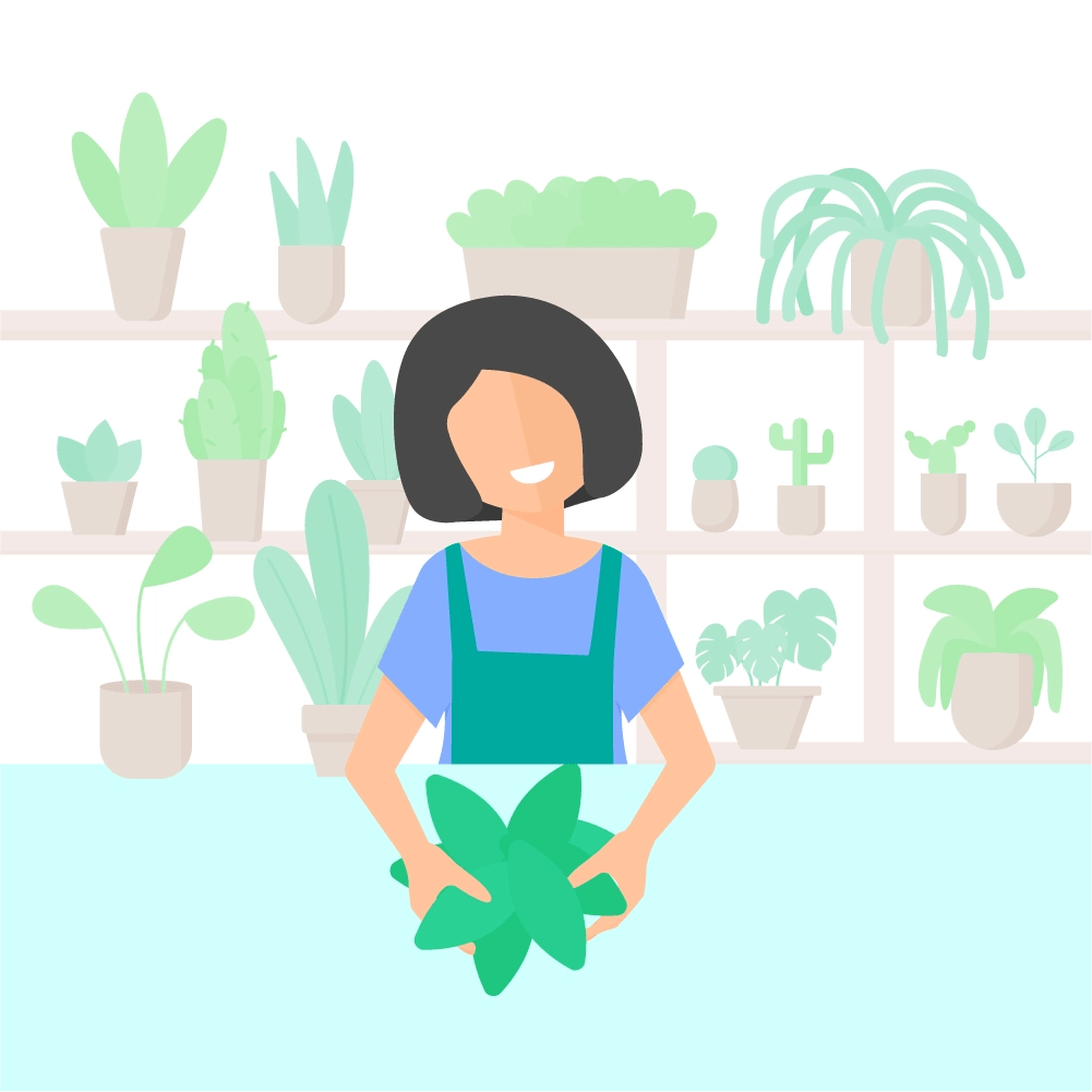 Flat illustration of a woman with short black hair, arranging the flowers in plants shop with lots of houseplants on the shelves