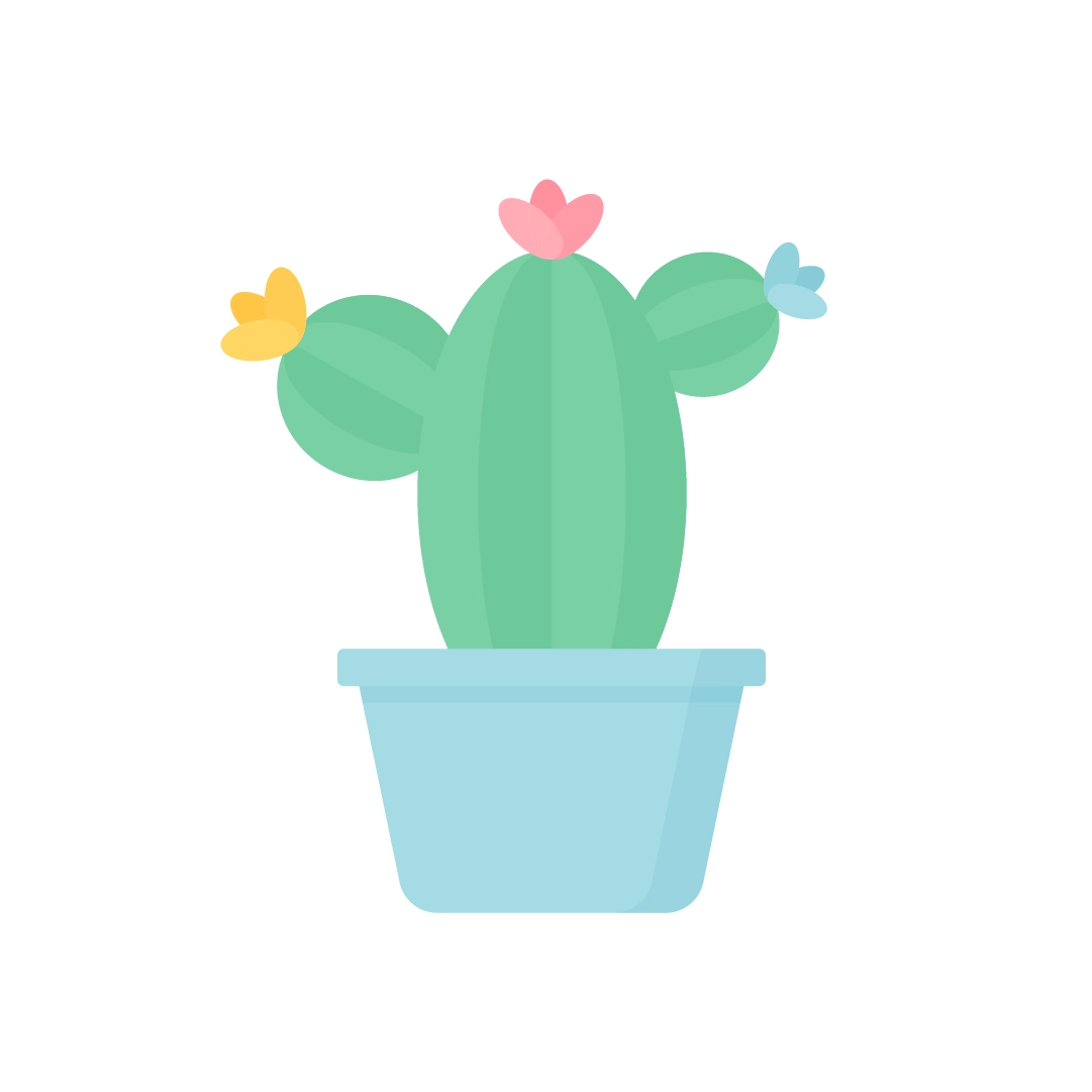 Vector illustration of a cactus in a blue pot with three flowers in flat design style