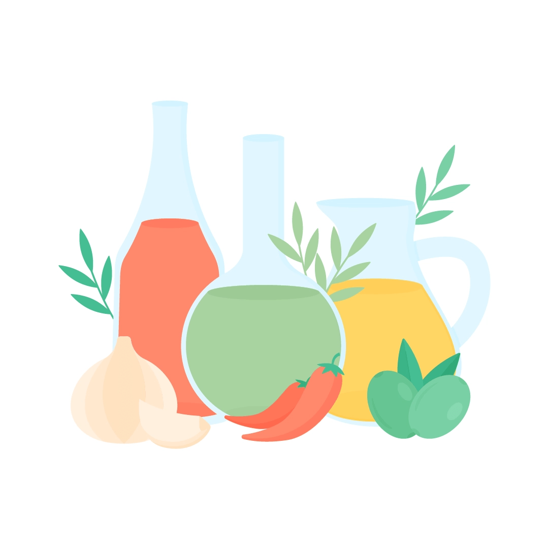 Vector illustration of olive oils (chilli, Spanish & garlic) in different glass containers with garlic, chilli peppers, green olives & olive branches around in flat design style