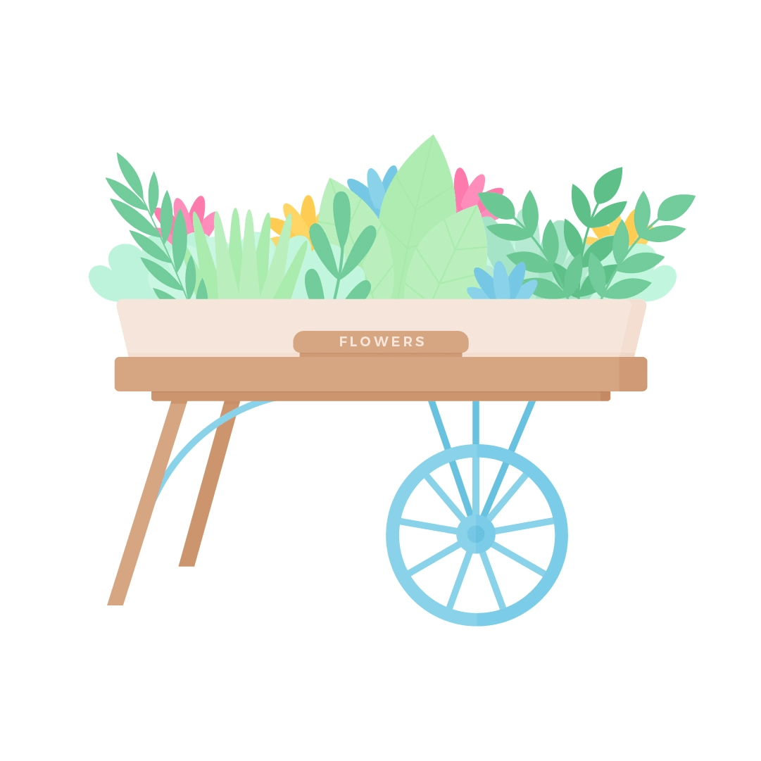 Vector illustration of a flower cart from Covent Garden, London, UK for Mother's Day in Poland in flat design style