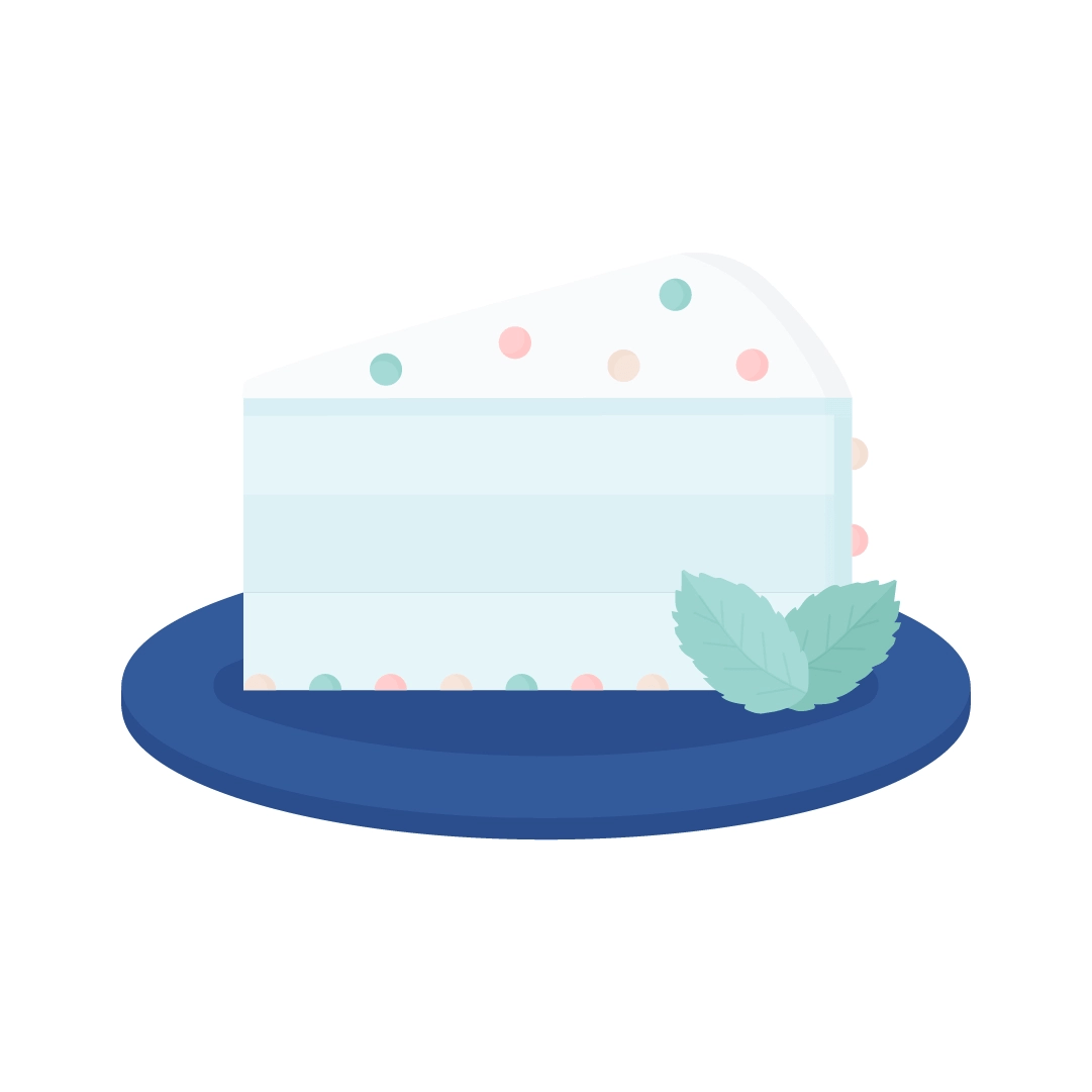 Vector illustration of a slice of mint cake with chocolate chips, mint leaves, on a navy blue plate in flat design style