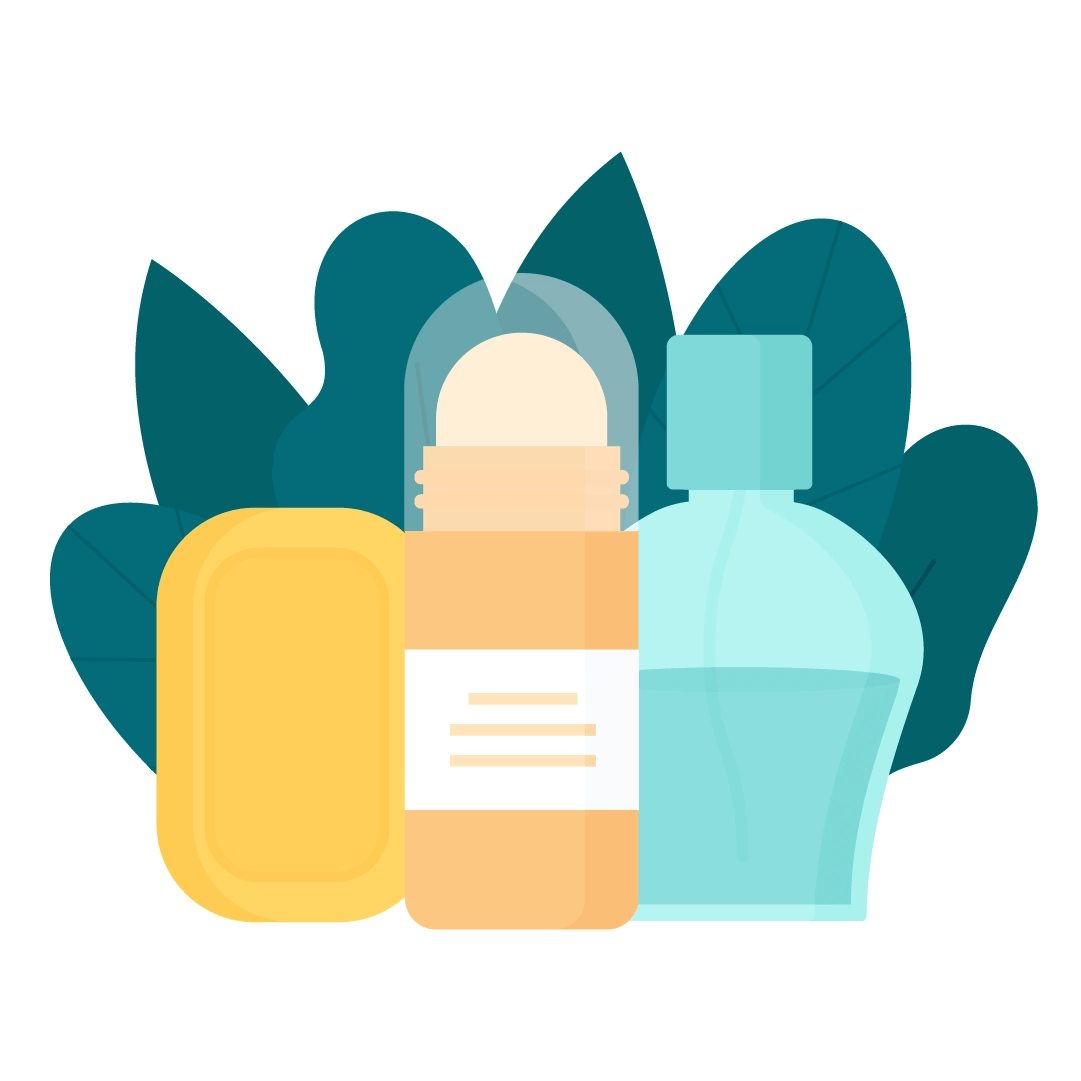 Vector illustration of a soap bar, roll-on deodorant & perfume with leaves composition in flat design style