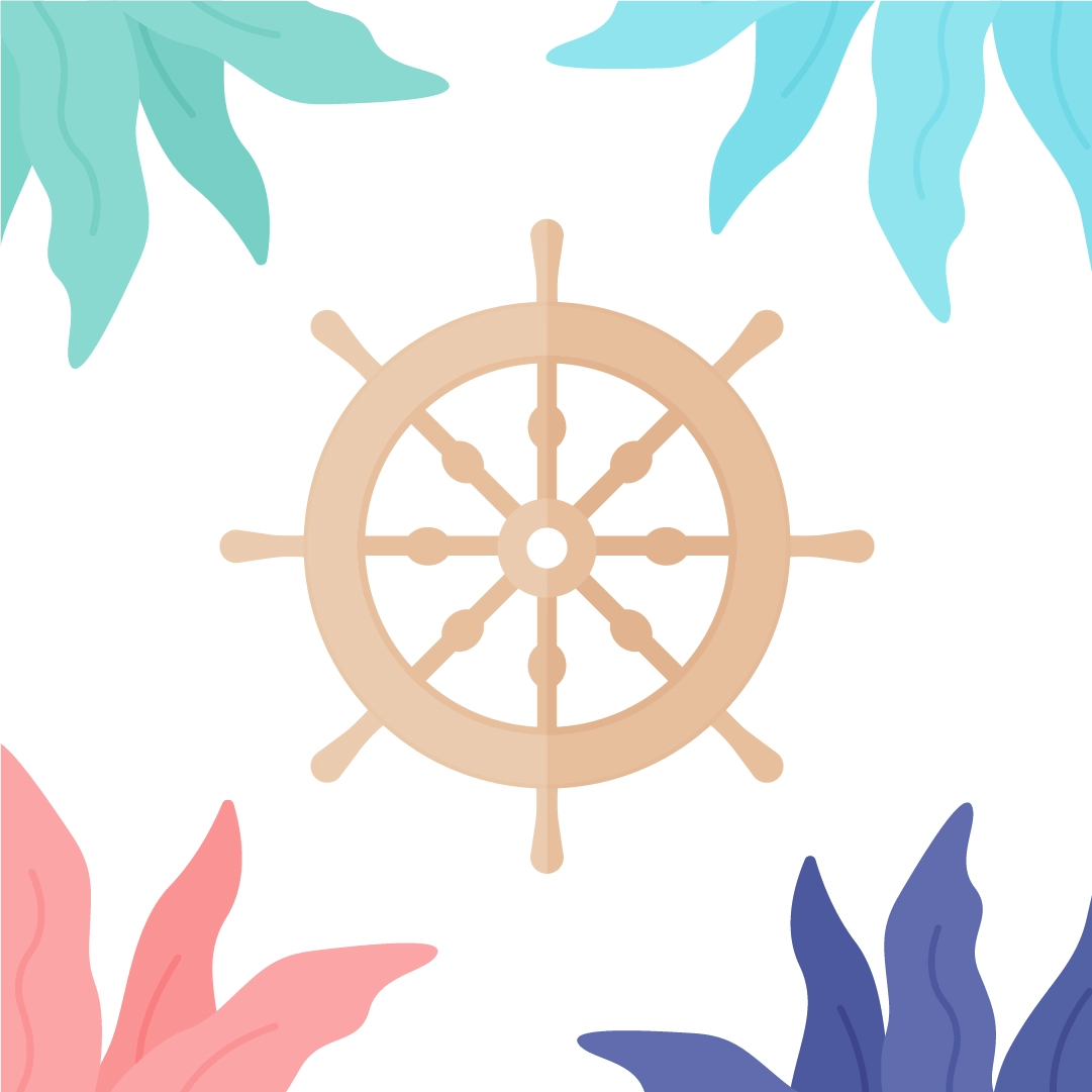Vector illustration of a ship steering wheel with seaweed frame in flat design style