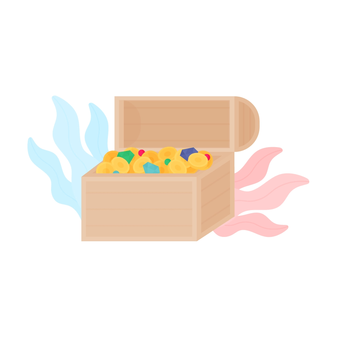 Vector illustration of a treasure chest with coins, gems & diamonds and seaweed in the back in flat design style