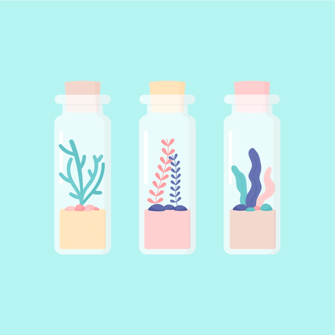 Vector illustration of seaweed in mini glass jars with a cork stopper in flat design style