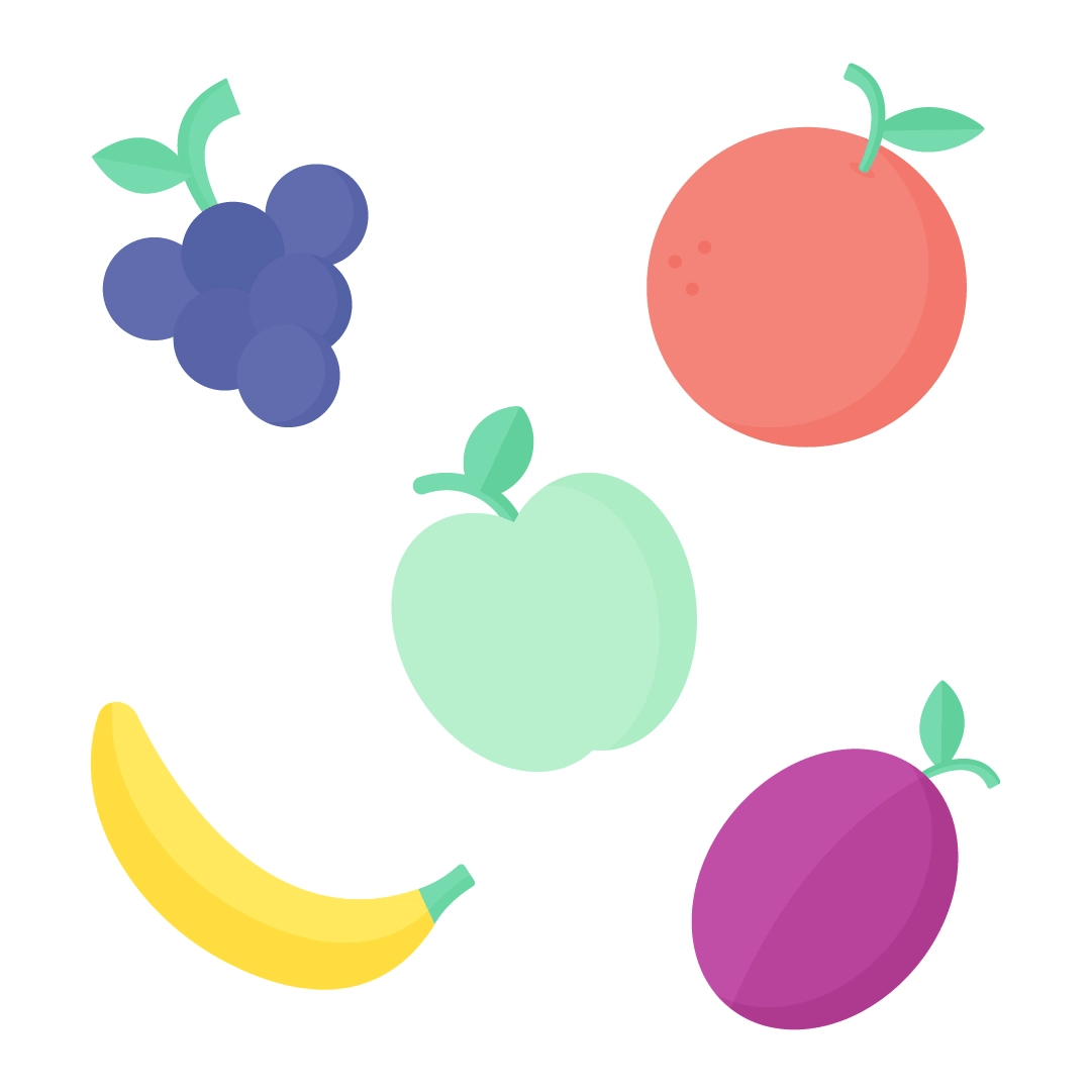 Vector illustration of fruits: grapes, green apple, grapefruit, banana & plum in flat design style