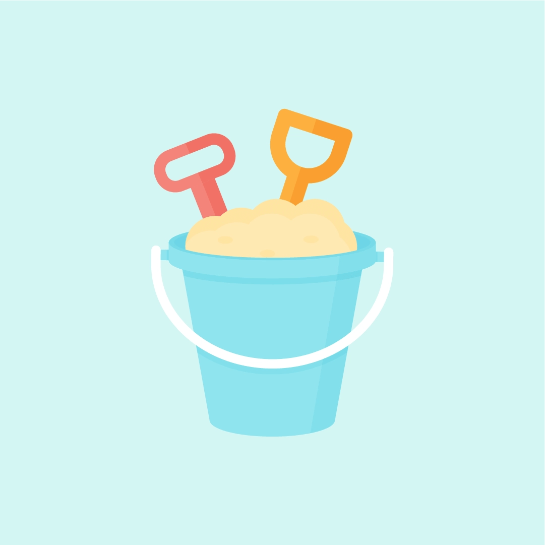 Vector illustration of beach bucket set with sand in flat design style