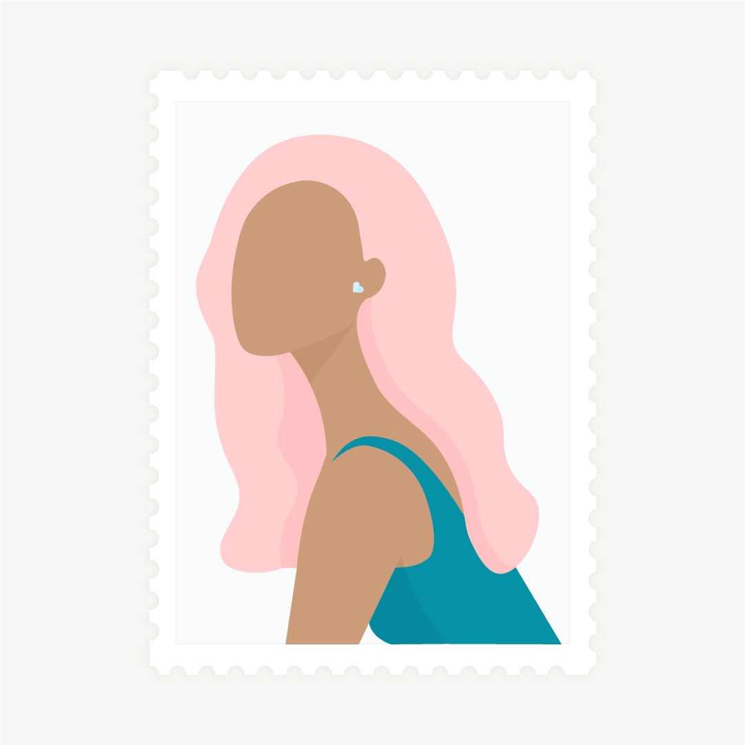 Vector illustration of a stamp: side view portrait of a woman with light pink hair in flat design style