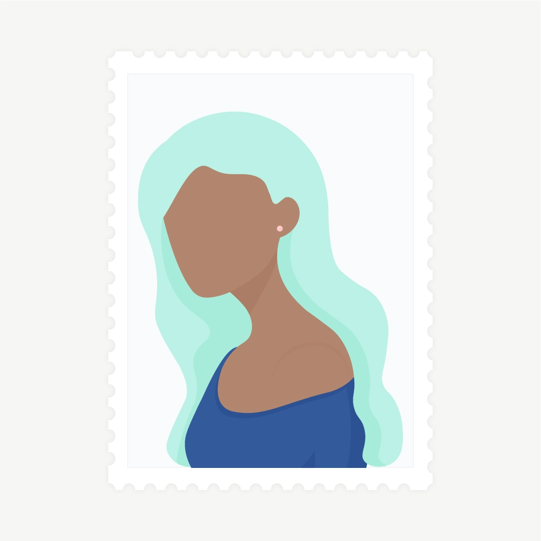 Vector illustration of a stamp: side view portrait of a woman with light green hair in flat design style