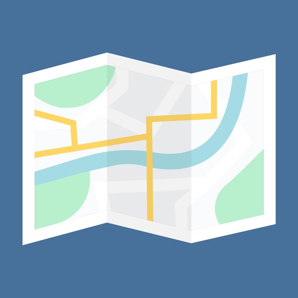 Flat illustration of Folded Map