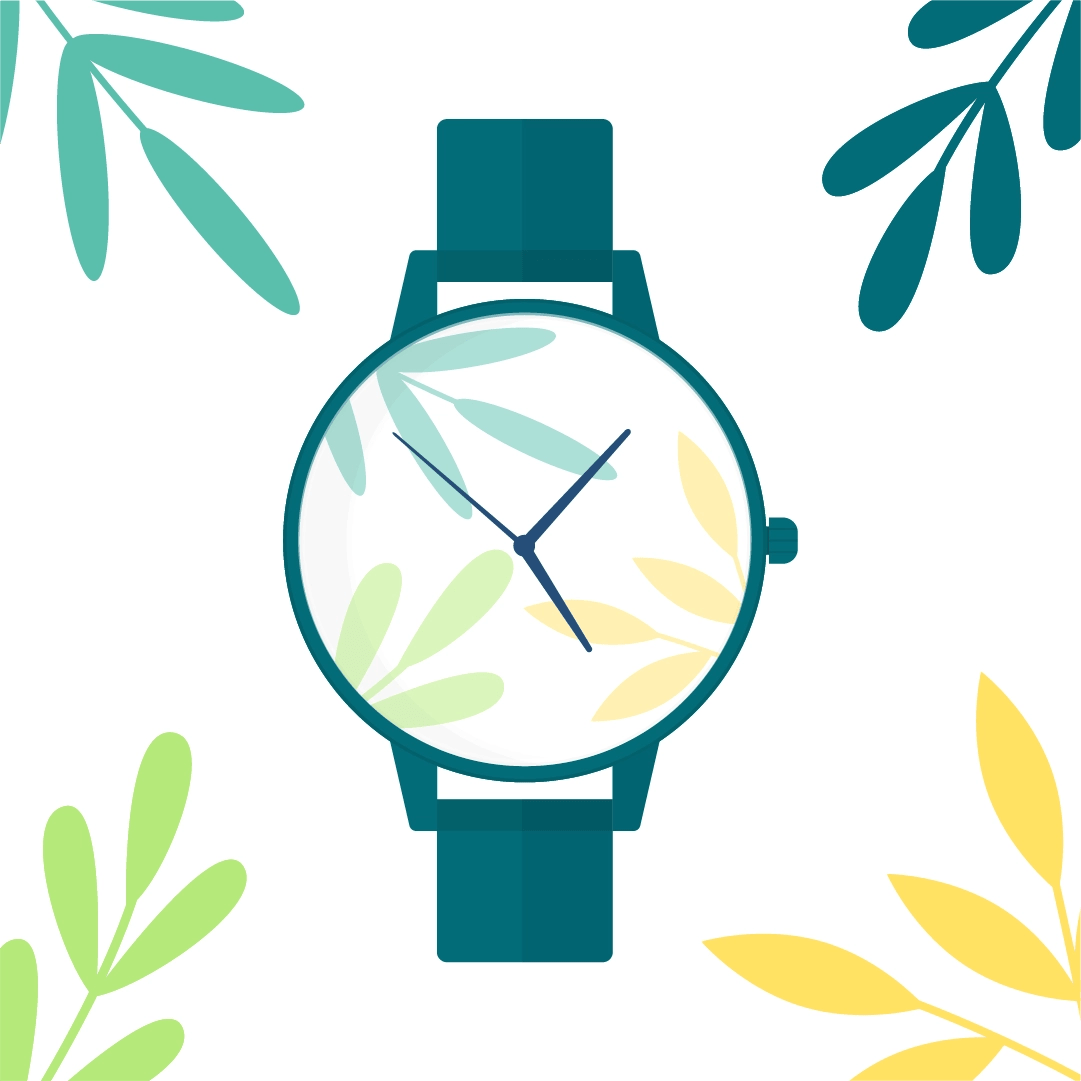 Vector illustration of a wristwatch with leaves on the face/dial & foliage composition frame in flat design style