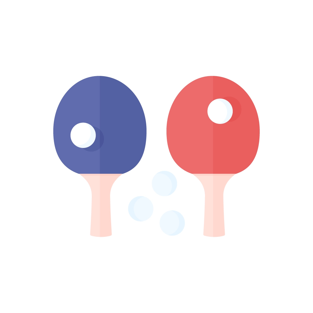 Vector illustration of table tennis (ping-pong) set - purple & red rackets & balls in flat design style