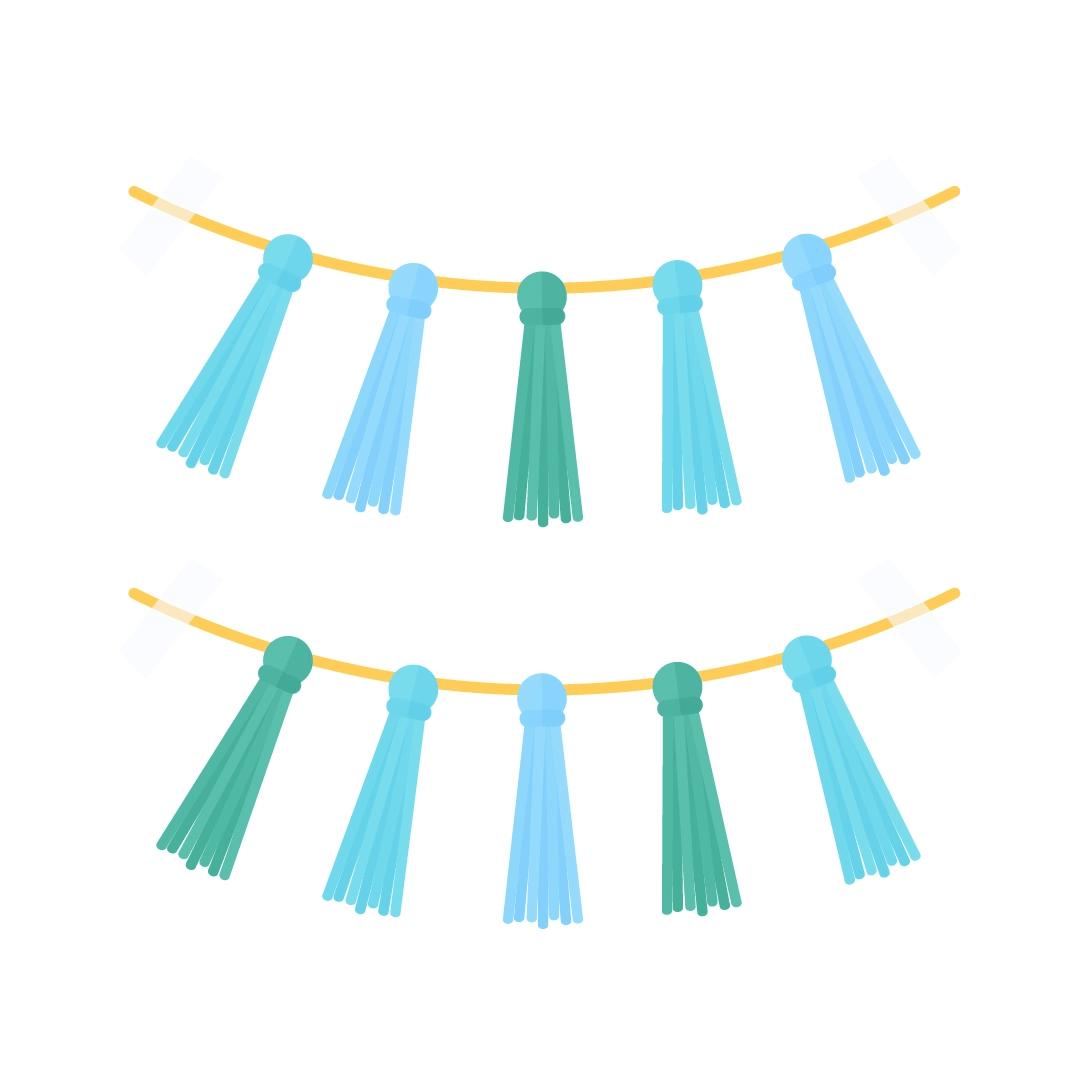 Vector illustration of tassel garlands in flat design style