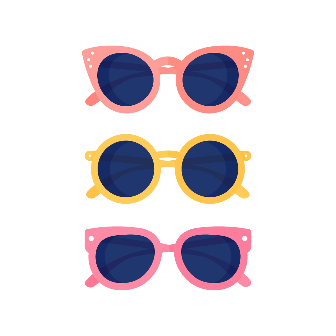 Vector illustration of a collection of orange, yellow & pink sunglasses in flat design style