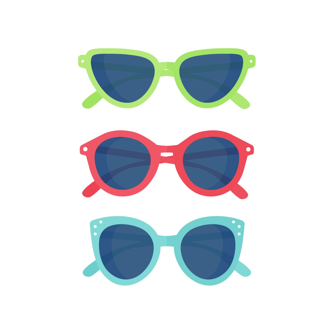 Vector illustration of a series of green, red & blue sunglasses in flat design style