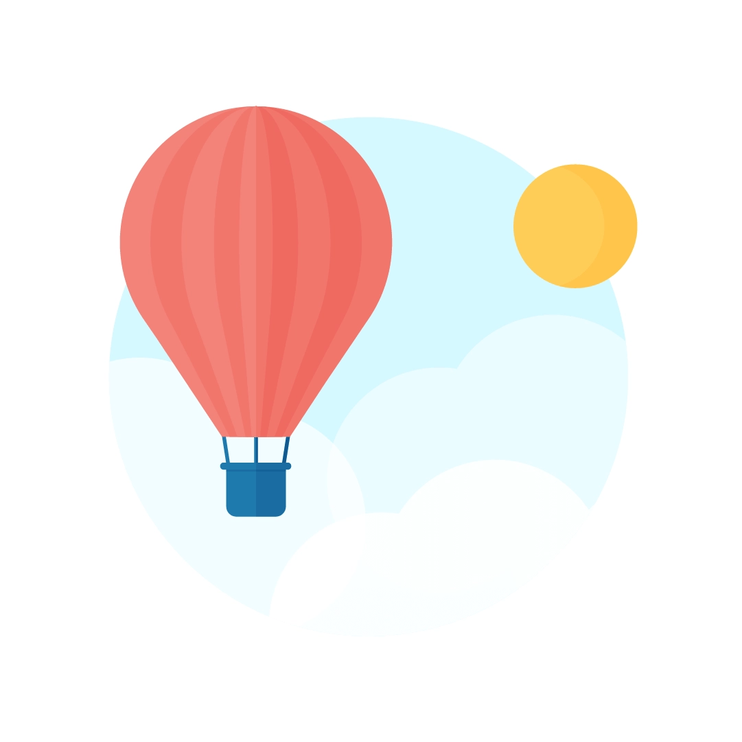 Vector illustration of hot air balloon scene with clouds & sun in flat design style