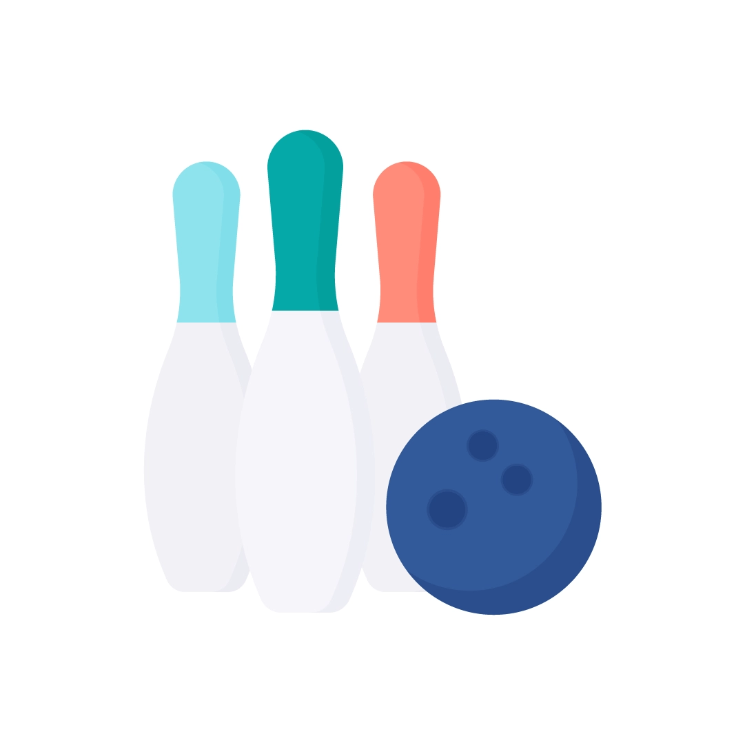Vector illustration of bowling pins & ball in flat design style