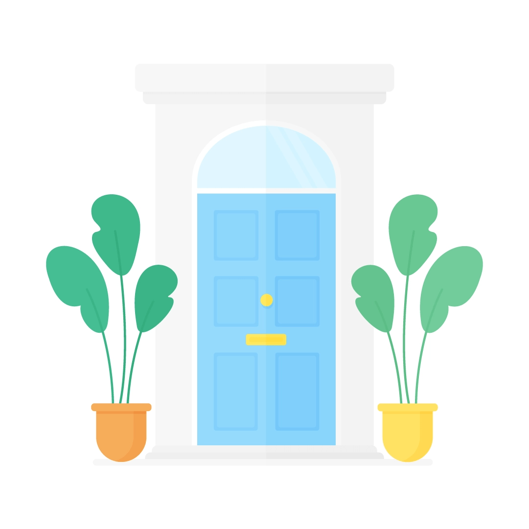 Vector illustration of a blue Victorian style (UK) front doors with two potted plants in flat design style