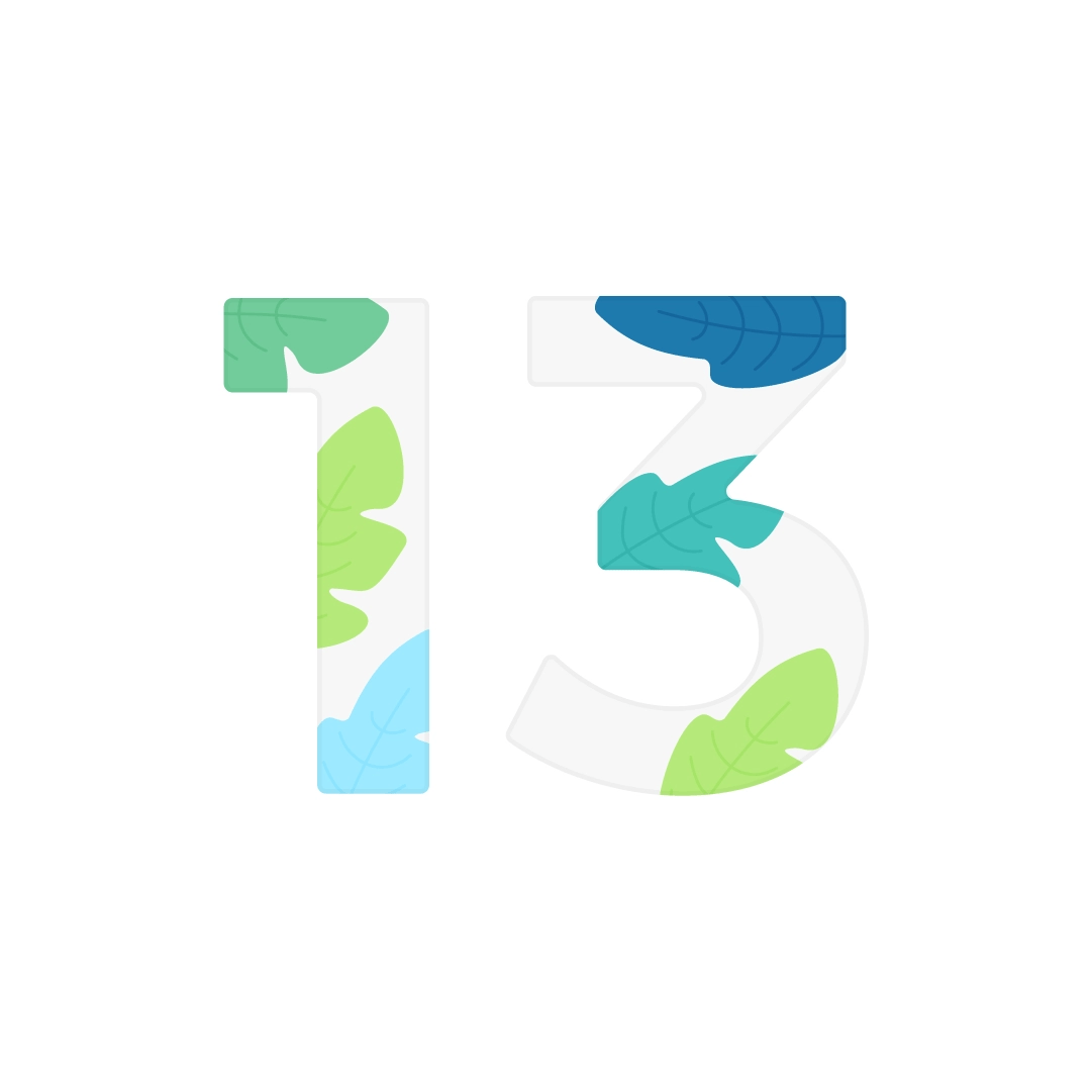 Vector illustration of a number 13 with foliage in flat design style
