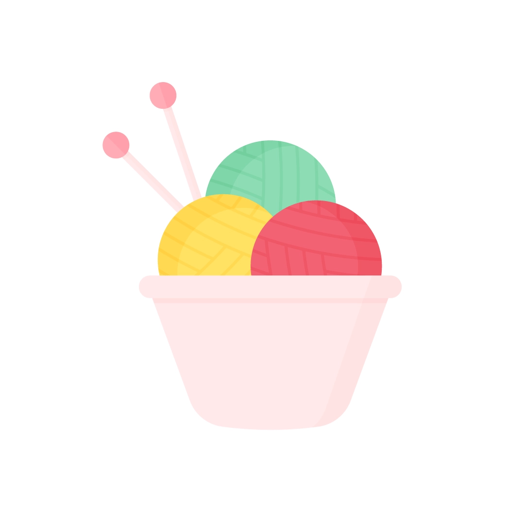 Vector illustration of a bowl with balls of yarn & knitting needles in flat design style