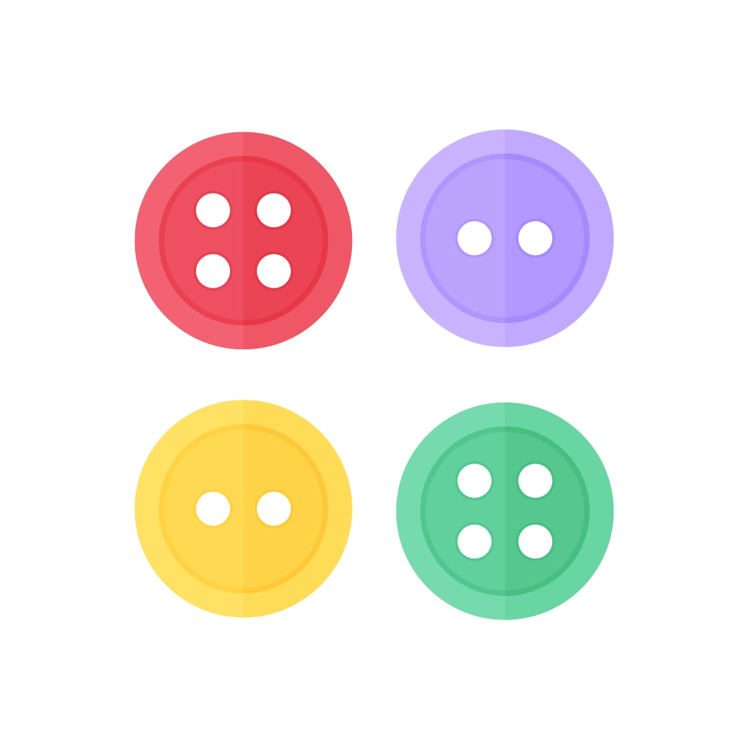Vector illustration of four sewing buttons in flat design style