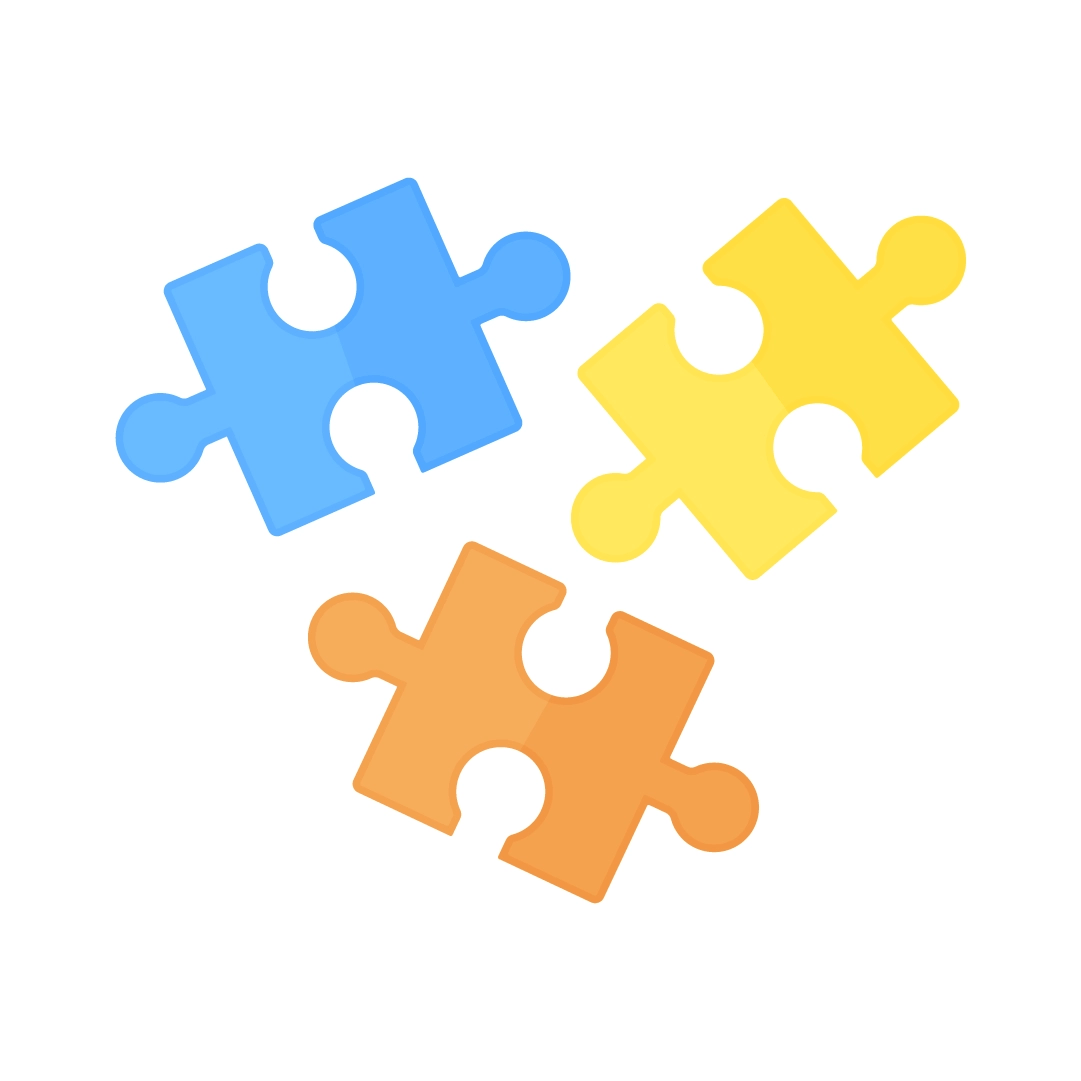 Vector illustration of a jigsaw puzzle pieces in flat design style