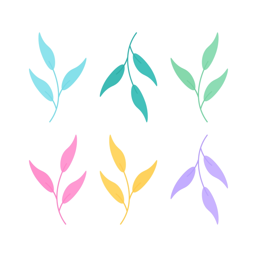 Vector illustration of colourful leaves in flat design style