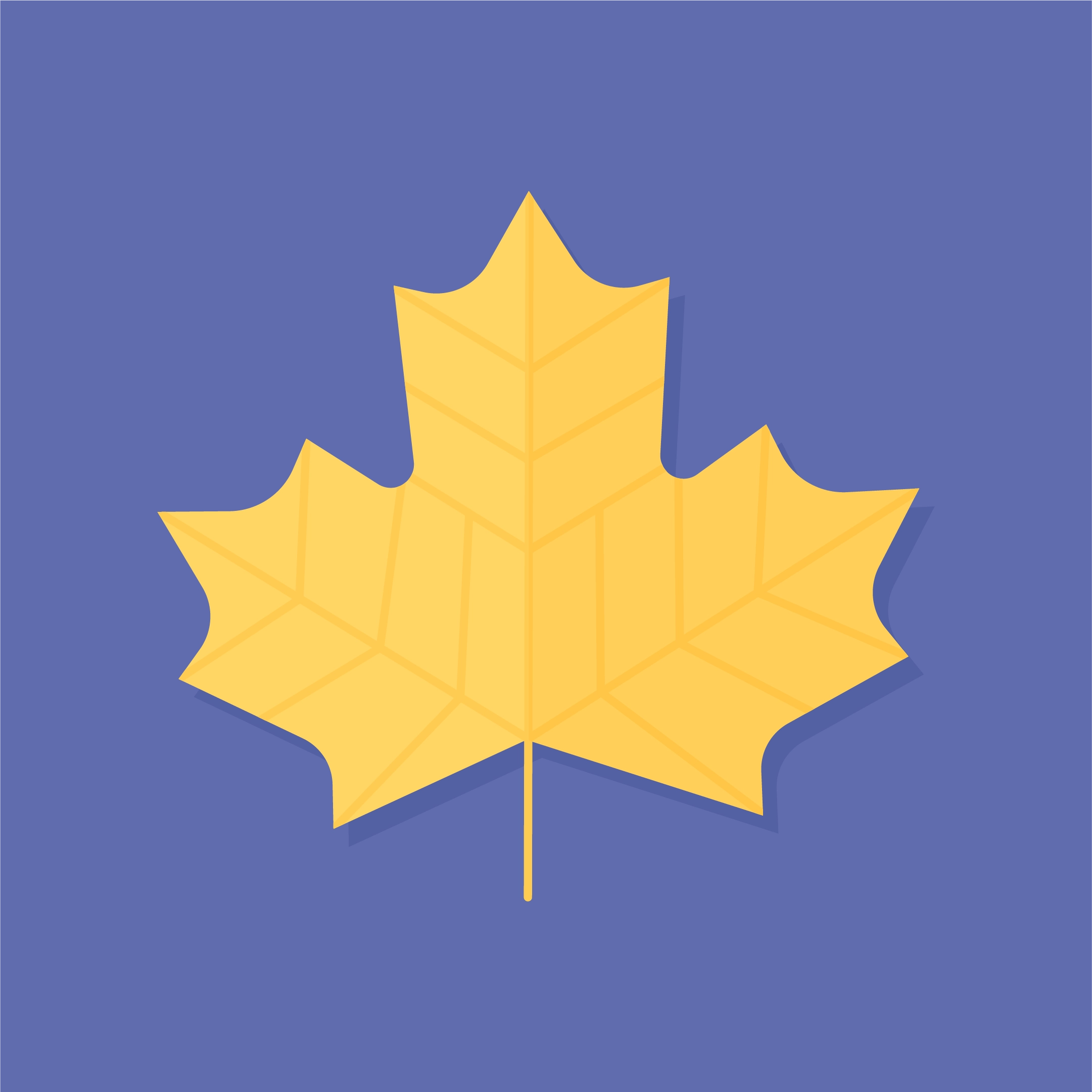 Vector illustration of a yellow Maple leaf in flat design style