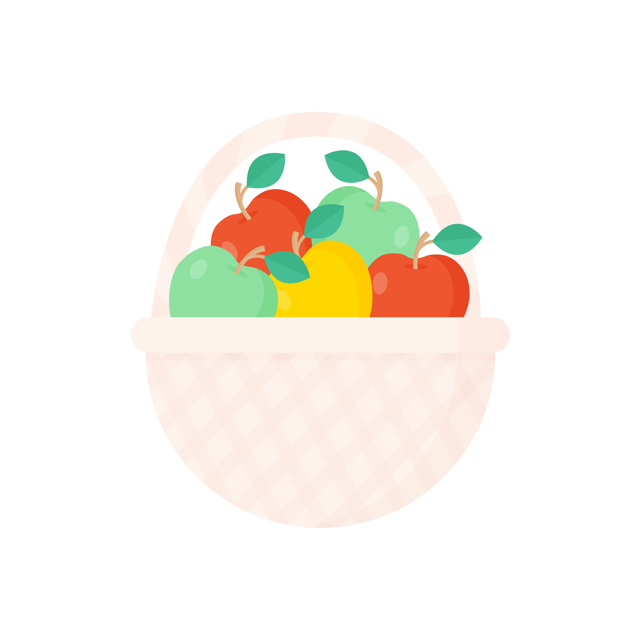 Vector illustration of a basket with yellow, red & green apples in flat design style