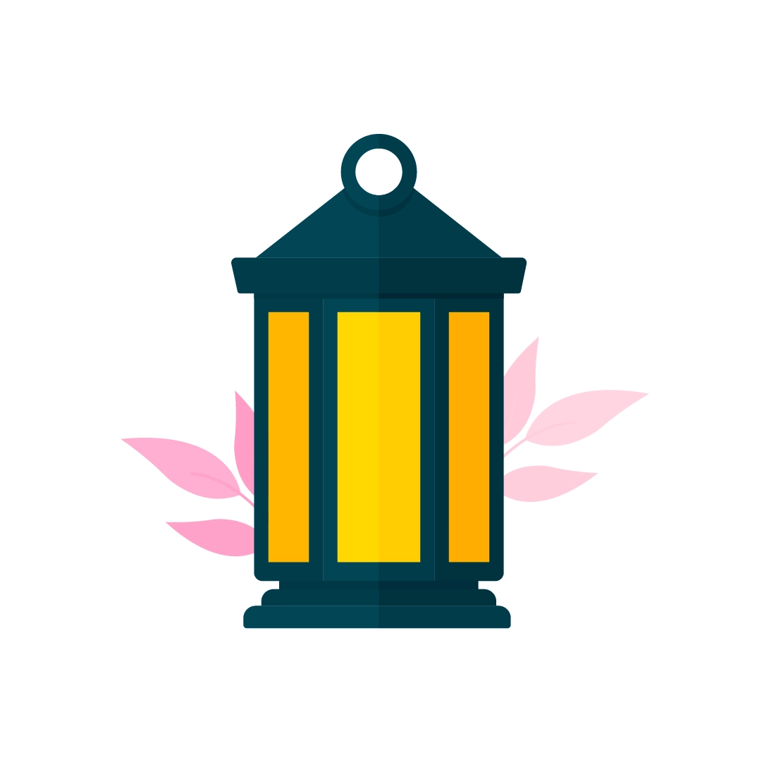 Vector illustration of a black vintage lantern with pink leaves in flat design style