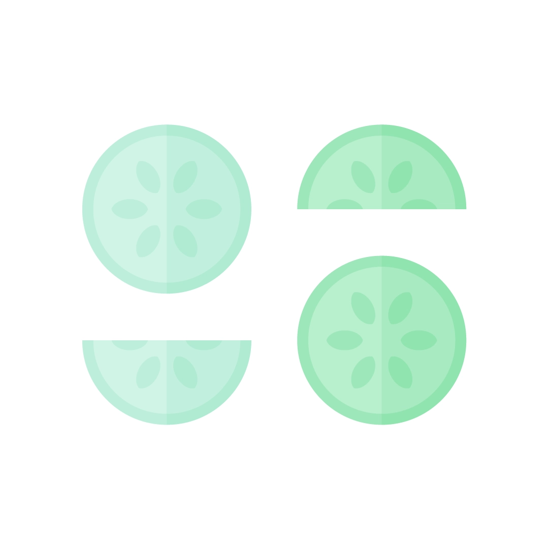 Vector illustration of a cucumber slices in flat design style