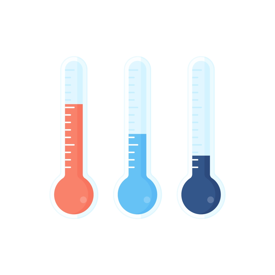 Vector illustration of a three thermometers - showing hot, cold, freezing temperatures in flat design style
