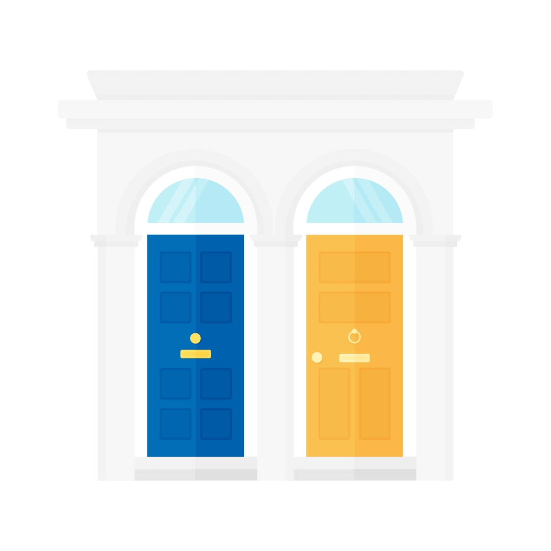 Vector illustration of a traditional British terrace house entrance - with royal blue & yellow victorian style doors in flat design style
