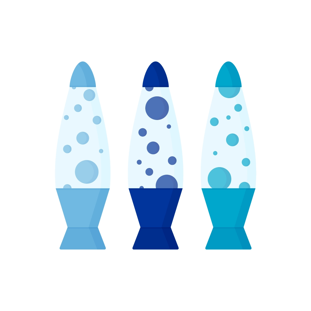 Vector illustration of a Three blue lava lamps in flat design style