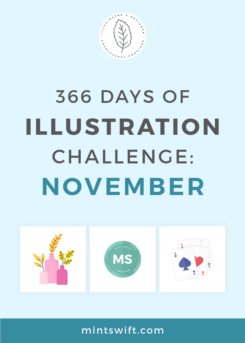 366 Days of Illustration Challenge - November by MintSwift. The eleventh month of illustration challenge (day 306-335). Vector illustrations in flat design style about vintage items, plants, board games, food.