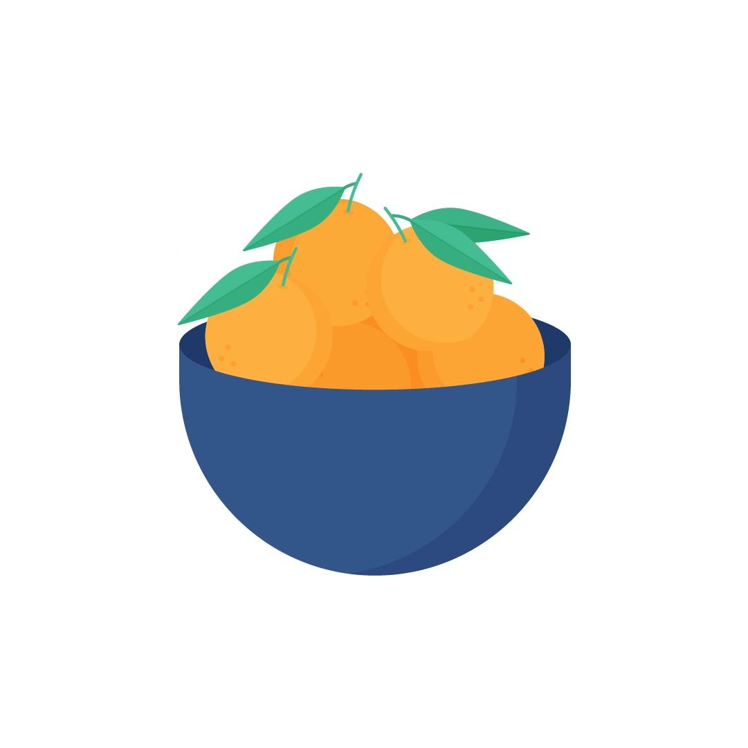 Vector illustration of mandarin oranges in a bowl in flat design style